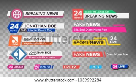 Lower Third Title TV News Bars Set Vector. News Banner For TV Streaming. Full Hd, Live Sport Stream. Broadcast Banner Isolated Illustration