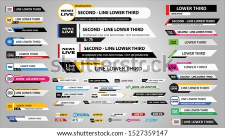 Lower Third TV News Bars Set Vector. News Lower Thirds pack. TV News Bars Set Vector.