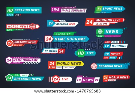 Lower third tv titles set, design for broadcasting and television. Streaming video symbol for web translation. Vector tv titles illustration