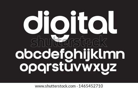 Lowercase vector geometric font. Modern startup typeface for identity design