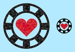 lowpoly hearts casino chip icon on a sky blue background. Polygonal hearts casino chip vector designed from randomized triangles. Triangulated hearts casino chip polygonal 2d illustration.