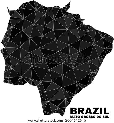 lowpoly Mato Grosso do Sul State map. Polygonal Mato Grosso do Sul State map vector is combined from randomized triangles. Foto stock ©