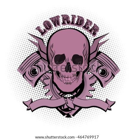 lowrider skull emblem vector