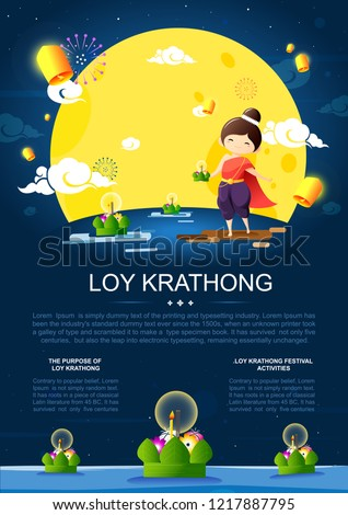Loy Krathong Festival poster design with girl in thai traditional costume,full moon,lanterns and krathongs floating on water.Celebration and Culture of Thailand-Vector Illustration