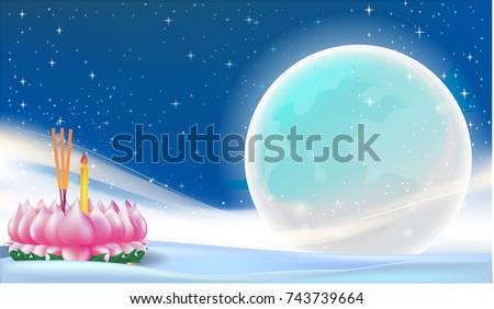 Loy Krathong, Thai full moon traditional festival, illustration background vector