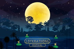 LOY KRATONG FESTIVAL in thailand background vector and illustration.