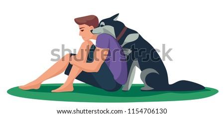 loyal dog laid his head on the