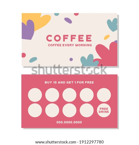 Loyalty card for cafe coffee. Stamps card collect 10 get 1 free. abstract background Photo stock ©