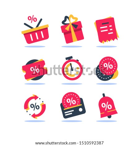 Loyalty card, incentive program vector icon set, earn bonus points for purchase, discount coupon, limited time period, cash back, redeem gift, grocery basket and stopwatch, cheap offer, save money