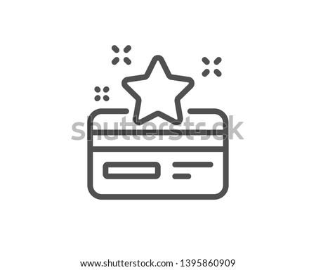 Loyalty card line icon. Bonus points. Discount program symbol. Quality design element. Linear style loyalty card icon. Editable stroke. Vector Foto d'archivio ©