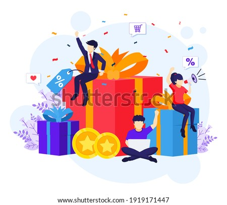 Loyalty marketing program, People near big gift boxes, discounts, rewards card points, and bonuses flat vector illustration Photo stock ©