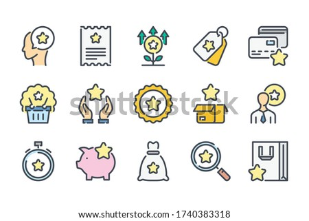 Loyalty Program and Client Bonuses related color line icon set. Customer Reward Service colorful linear icons. Coupon, Cashback and Point Tickets flat color outline vector sign collection. Photo stock ©