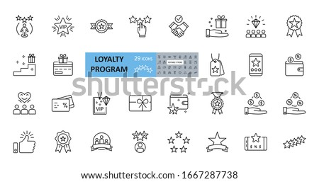 Loyalty program icons. 29 vector images in a set with editable stroke. Includes membership, reviews and likes, stars, loyalty card, percentage of discounts, gifts, diamonds, VIP status.