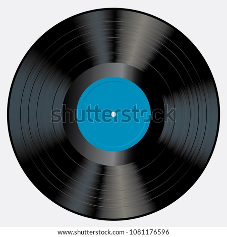 LP vinyl record with blank blue label