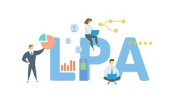 LPA, Licensed Public Accountant. Concept with keyword, people and icons. Flat vector illustration. Isolated on white.