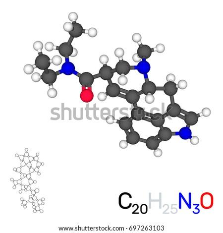 lsd model molecule isolated on