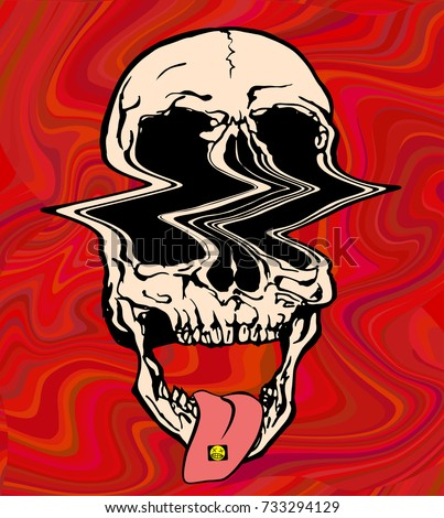 Stock Photo LSD psychedelic skull. Vector illustration of glitch skull on acid on trippy red background.