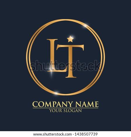 LT Logo Design Template With Modern Luxury Gold Letter Logo Vector Stock fotó ©