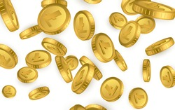 LTC. Litecoin gold coins explosion isolated on white background. Cryptocurrency concept. Vector illustration.