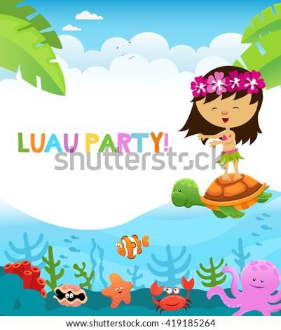 luau party card
