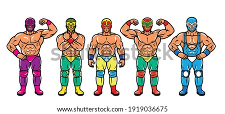 Lucha Libre Characters. Mexican Wrestler Fighters in Mask. Vector Illustration. Photo stock ©