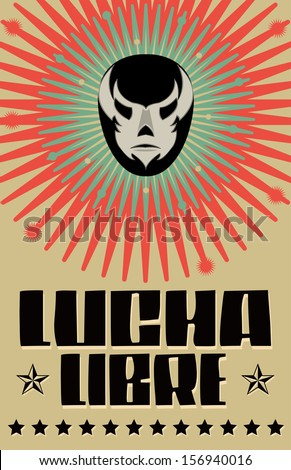Lucha Libre wrestling spanish text Mexican wrestler mask poster