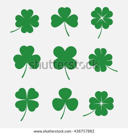 luck clover leaves vector set