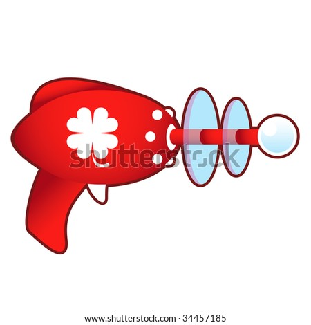 Luck four leaf clover icon on laser raygun vector illustration in retro 1950's style.