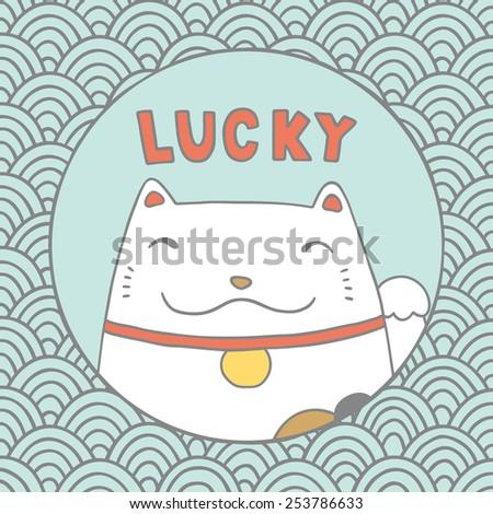 lucky cat maneki neko vector