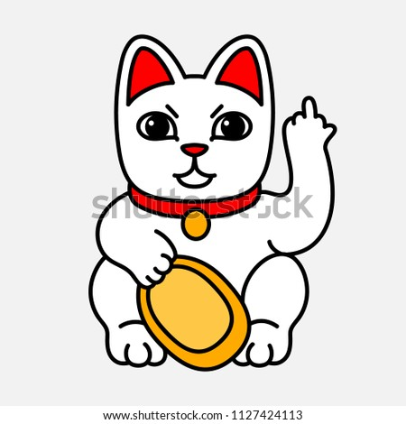 Lucky Cat shows an indecent gesture. Vector illustration