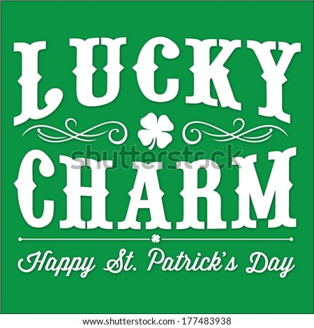 Lucky Charm St. Patrick's Day Vector Illustration | Happy Saint Patrick's Day With Clover and Curl Elements