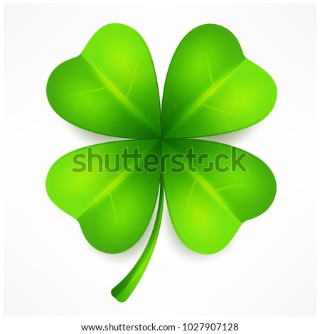Lucky clover leaf, four isolated on white, for St. Patrick's day. Vector illustration.