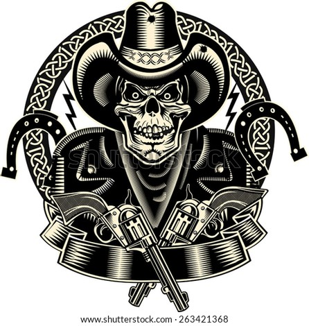 lucky cowboy skull and revolver
