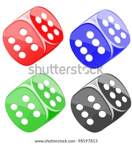 Lucky dices casino gambling game jackpot. Many color vector set