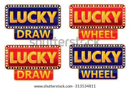 Lucky Draw/Lucky wheel Typographic on Glowing banner