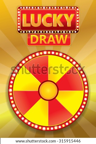 Lucky draw typographic on glowing poster with gold background