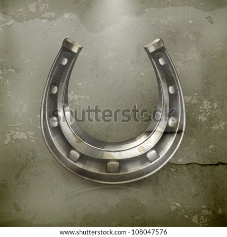 Lucky horseshoe, old-style vector