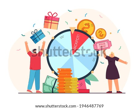 Lucky people winning prize draw standing near fortune wheel. Cartoon vector illustration. Happy winners with gift boxes, balls and jackpot on giant raffle drum. Lottery, prize, luck, marketing concept