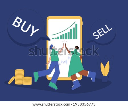 Lucky retail investors. Happy people near a computer screen with graph of shares rally. Investment concept. Stock market rally. Minor shareholders getting money. Vector flat illustration.
