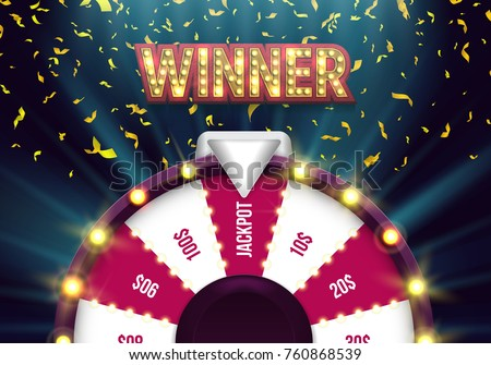 Lucky roulette with falling confetti. Vector illustration.