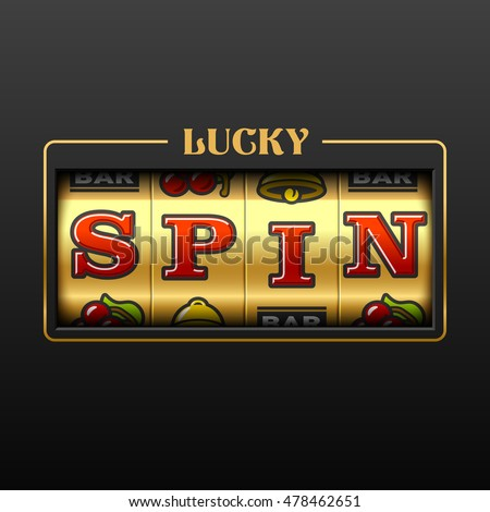 Lucky Spin slot machine casino banner. Vector illustration.