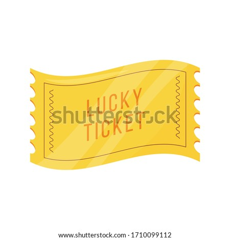 Lucky ticket cartoon vector illustration. Fortunate talisman, special coupon flat color object. Common superstition, good luck symbol. Golden ticket, lottery attribute isolated on white background Photo stock ©