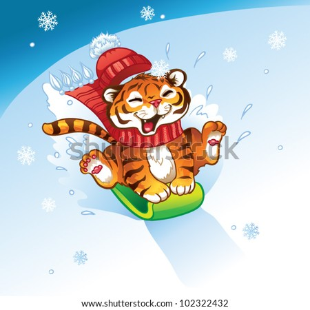 lucky tiger sledding with the