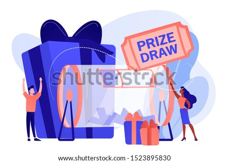 Lucky tiny people turning raffle drum with tickets and winning prize gift boxes. Prize draw, online random draw, promotional marketing concept. Pinkish coral bluevector isolated illustration
