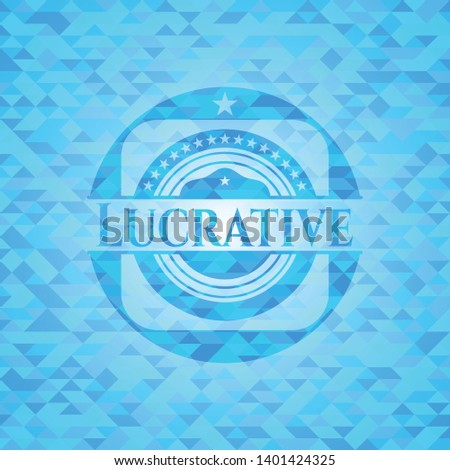 Lucrative sky blue emblem with mosaic ecological style background