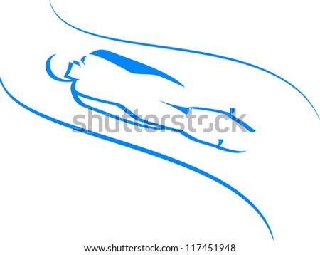 Luge. winter sports icons in blue
