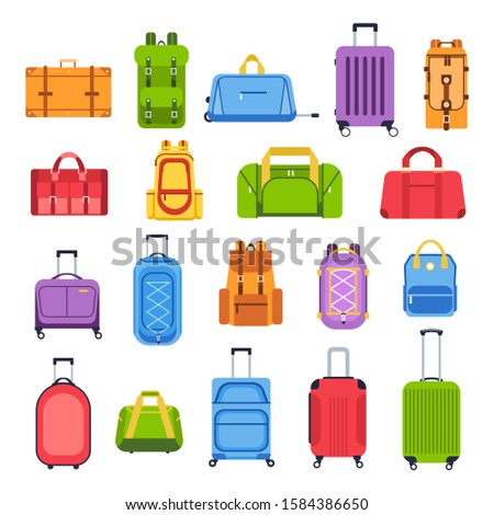 Luggage bags. Baggage handbag for trip, tourism and vacation, travel suitcases and leather accessories isolated vector icons set. Journey essentials. Rolling valises flat illustrations