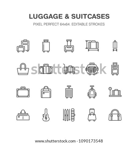 Luggage blue flat line icons. Carry-on, hardside suitcases, wheeled bags, pet carrier, travel backpack. Baggage dimensions and weight thin linear signs. Pixel perfect 64x64.