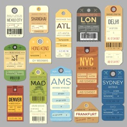 Luggage carousel baggage vintage tag symbols. Old train ticket and airline journey stamp symbol. London tour trip ticket vector set. Retro travel luggage labels