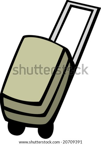 luggage case with wheels - stock vector